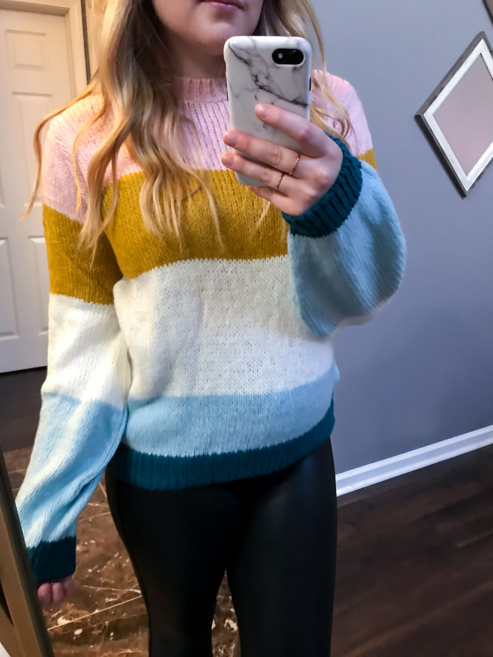 Maggie a la Mode Nordstrom Anniversary Sale 2018 Topshop Colorblock Knit Pullover, Spanx Faux-Leather Leggings