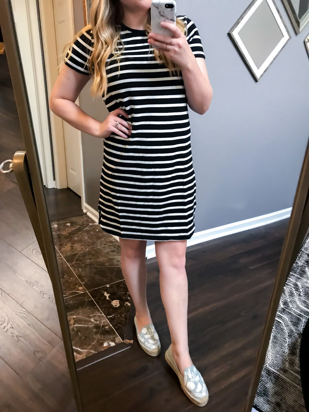 Maggie a la Mode Nordstrom Anniversary Sale 2018 Madewell Stripe T-Shirt Dress, Soludos Ibiza Embroidered Loafer Espadrille