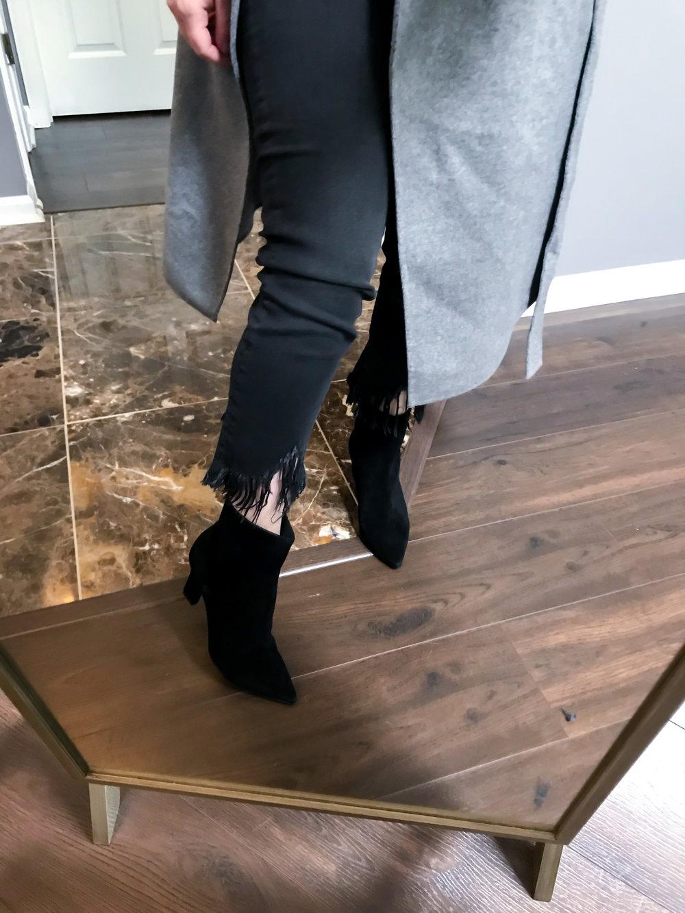 Maggie a la Mode Nordstrom Anniversary Sale 2018 Mavi Jeans Sharkbite Fringe Hem Jeans, Botkier Natalie Bootie