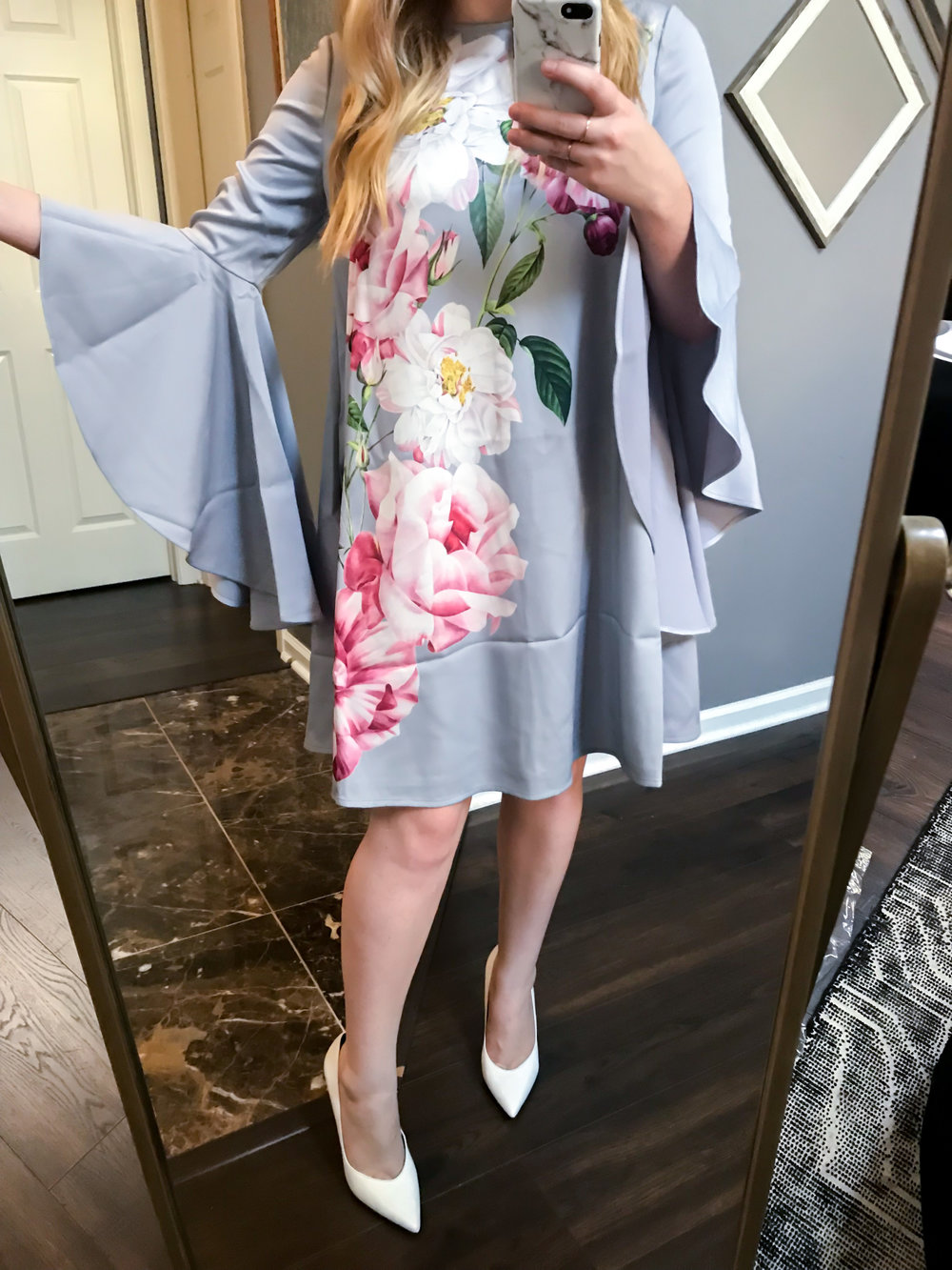 Maggie a la Mode Nordstrom Anniversary Sale 2018 Ted Baker London Sayda Iguaza Shift Dress, Marc Fisher LTD Hesla Pumps