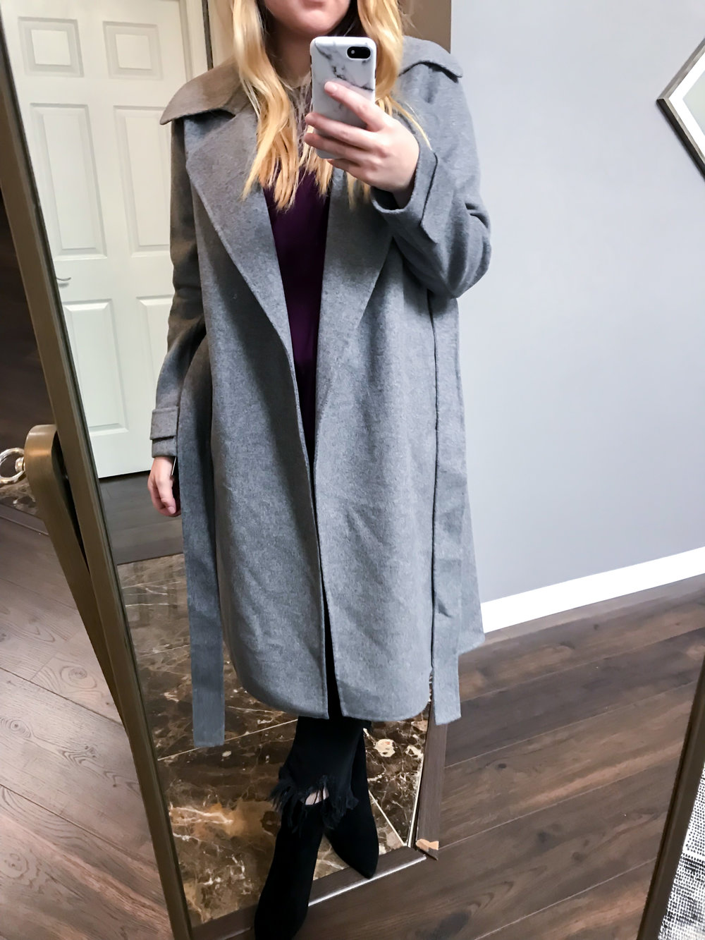 Maggie a la Mode Nordstrom Anniversary Sale 2018 Badgley Mischka Double Face Wool Blend Wrap Front Coat