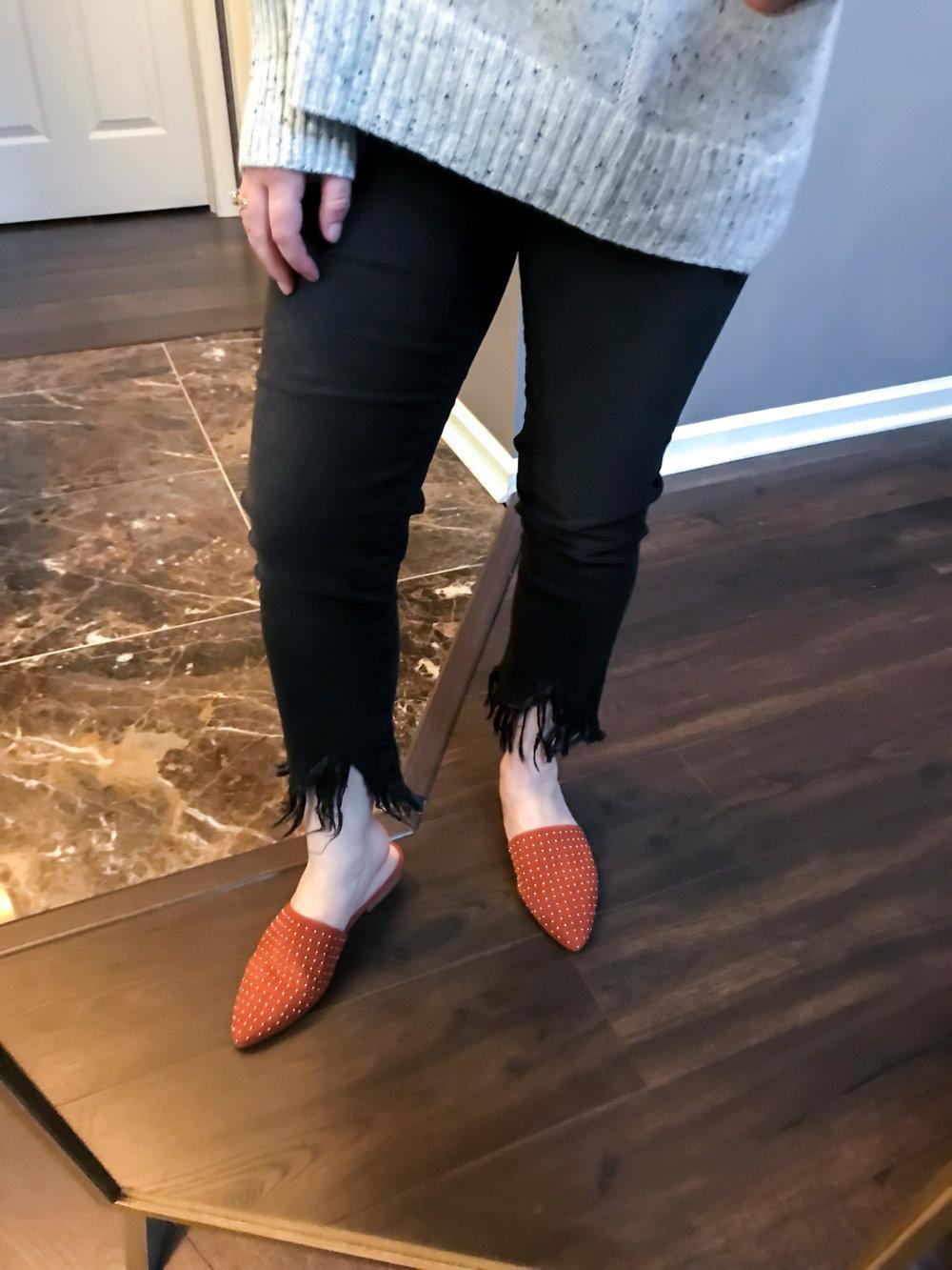 Maggie a la Mode Nordstrom Anniversary Sale 2018 Mavi Jeans Sharkbite Fringe Hem Jeans, Steve Madden Trace Studded Mules in Rust Suede