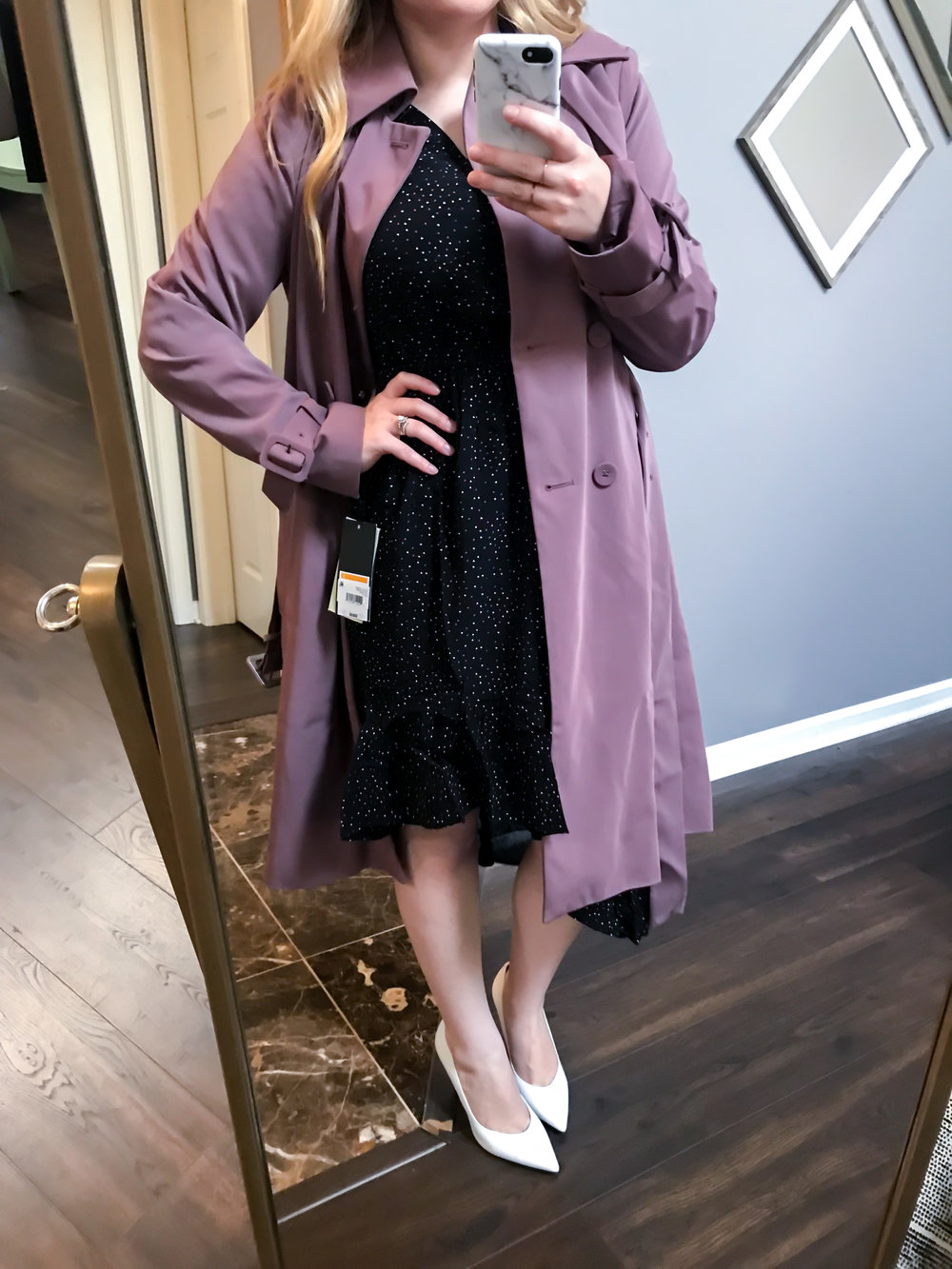 Maggie a la Mode Nordstrom Anniversary Sale 2018 London Fog Heritage Modern Trench Coat in Adobe, Joie Asymmetrical Dotted Chiffon Dress, Marc Fisher LTD Hesla Pumps