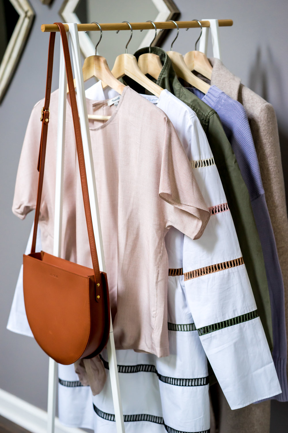 Maggie a la Mode Labor Day Sales 2018 - The Stowe Eloise Shoulder Bag, Madewell Button-Back Tie Tee in Stripe, English Factory A-Line Striped Dress, Madewell Fleet Jacket, Everlane The Soft Cotton Square Crew, Theory Clairene Hawthorne Wool Cashmere Coat