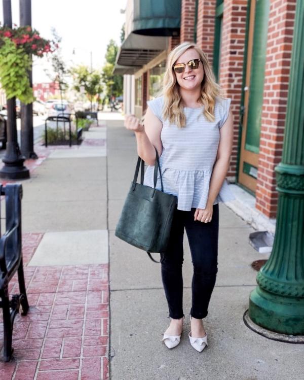 Maggie a la Mode - Instagram OOTD Anthropologie Benalla Textured Peplum Top Lewit Alessia Flat Madewell The Medium Transport Tote