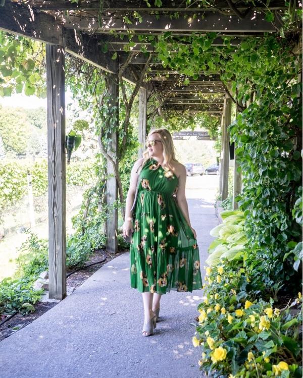 Maggie a la Mode - Instagram OOTD A.L.C. Tenley Floral Silk One Shoulder Dress BP. Tonya Open Toe Mule Cuyana Mini Saddle Bag
