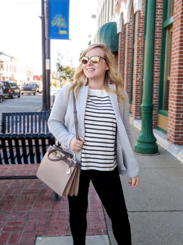Maggie a la Mode - Instagram OOTD Lou & Grey Striped Boatneck Tee J Crew Sophie Open Front Sweater Blazer Citizens of Humanity Avedon Ankle Skinny Jeans Michael Kors Tatiana Medium Two-Tone Leather Satchel