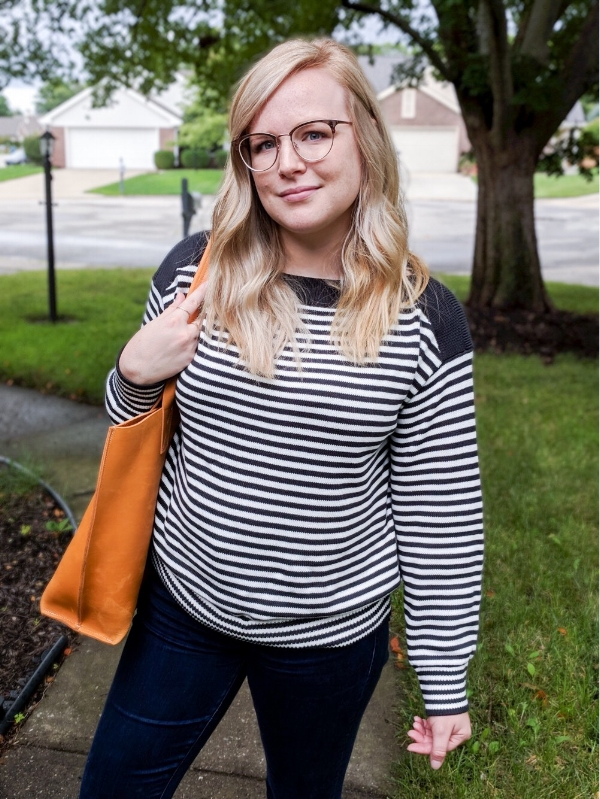 Maggie a la Mode - Instagram OOTD Everlane The Soft Cotton Boatneck Sweater Warby Parker Blair Eyeglasses Rose Gold Bubo Handmade Purse