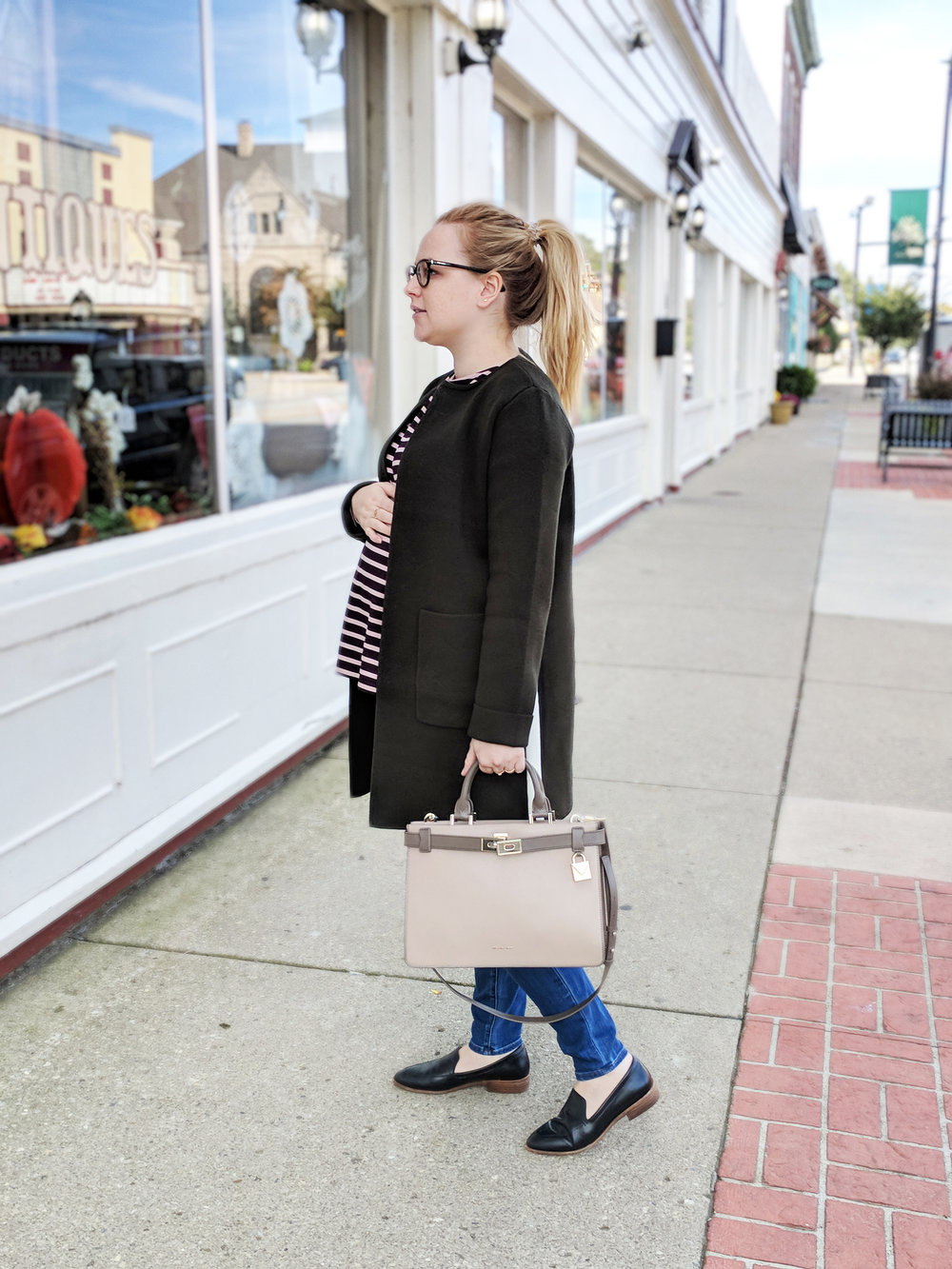 Maggie a la Mode - Anthropologie Evergreen Sweater Coat, HATCH The Long Sleeve Tee, Madewell Maternity Jeans Danny Wash, Madewell Frances Loafer, Michael Kors Tatiana Medium Two Tone Leather Satchel