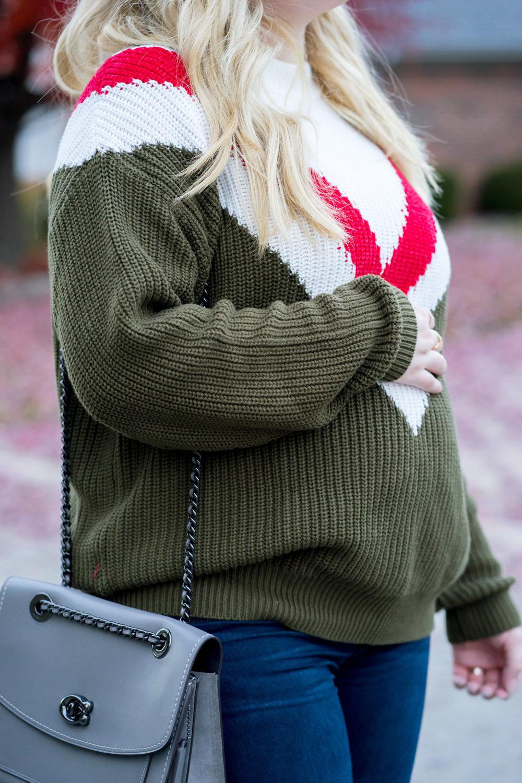 Maggie a la Mode - Favorite Finds at Mango, Mango Tricolor Cotton Josh Sweater Khaki, Paige Verdugo Ankle Skinny Jeans, Coach Parker Shoulder Bag, Madewell Frances Loafer