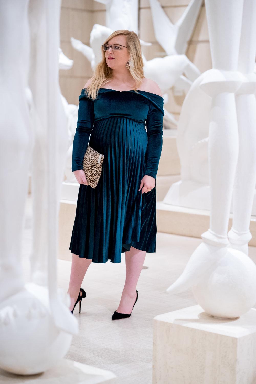 Maggie a la Mode - Holiday Dresses ASOS DESIGN Pleated Velvet Bardot Midi Dress Emerald SVSU Sculpture Gallery-5.jpg