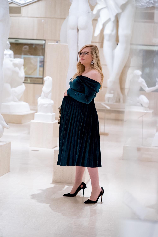 Maggie a la Mode - Holiday Dresses ASOS DESIGN Pleated Velvet Bardot Midi Dress Emerald SVSU Sculpture Gallery-3.jpg