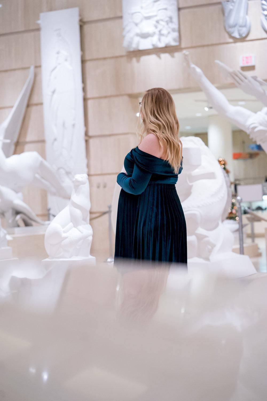Maggie a la Mode - Holiday Dresses ASOS DESIGN Pleated Velvet Bardot Midi Dress Emerald SVSU Sculpture Gallery-6.jpg