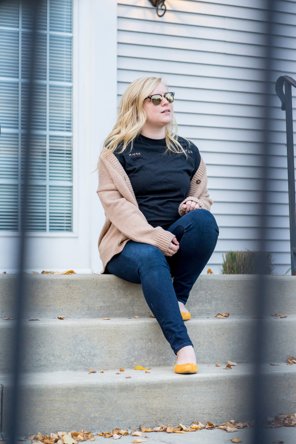Maggie a la Mode - Where to Find the Cutest Graphic Tees Urban Outfitters Rainbow Embroidered Phrase Tee Maybe Later, Lou & Grey Abbreviated Boyfriend Cardigan, Everlane Editor Slingback Flats, Paige Verdugo Ankle Skinny Jeans