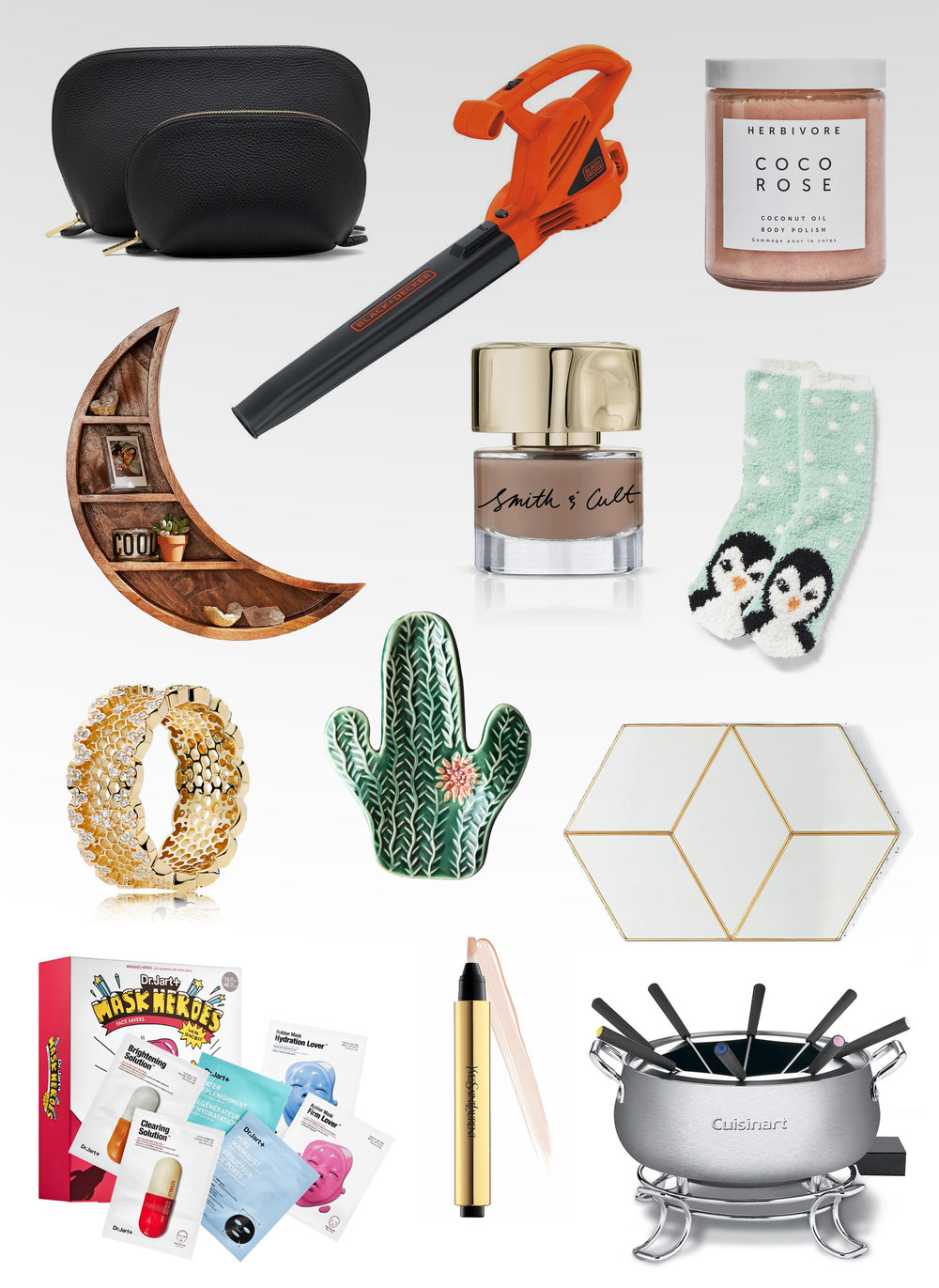Maggie a la Mode - Wednesday Wish List Holiday Gifts for Everyone - Cuyana Leather Travel Case Set, Black & Decker LB700 7-Amp Corded Leaf Blower, Herbivore Botanicals Coco Rose Coconut Oil Body Polish, Urban Outfitters Crescent Moon Wall Shelf, Smith & Cult Nail Lacquer Honey Hush, Old Navy Printed Cozy Fuzzy Socks, Pandora Honeycomb Lace Ring, Etsy BackBayPottery Cactus Succulent Spoon Rest, Anthropologie Estella Wall Mirror, Dr. Jart+ Mask Heroes Face Savers, Yves Saint Laurent  TOUCHE ECLAT Radiance Perfecting Pen, Cuisinart CFO-3SS Electric Fondue Maker