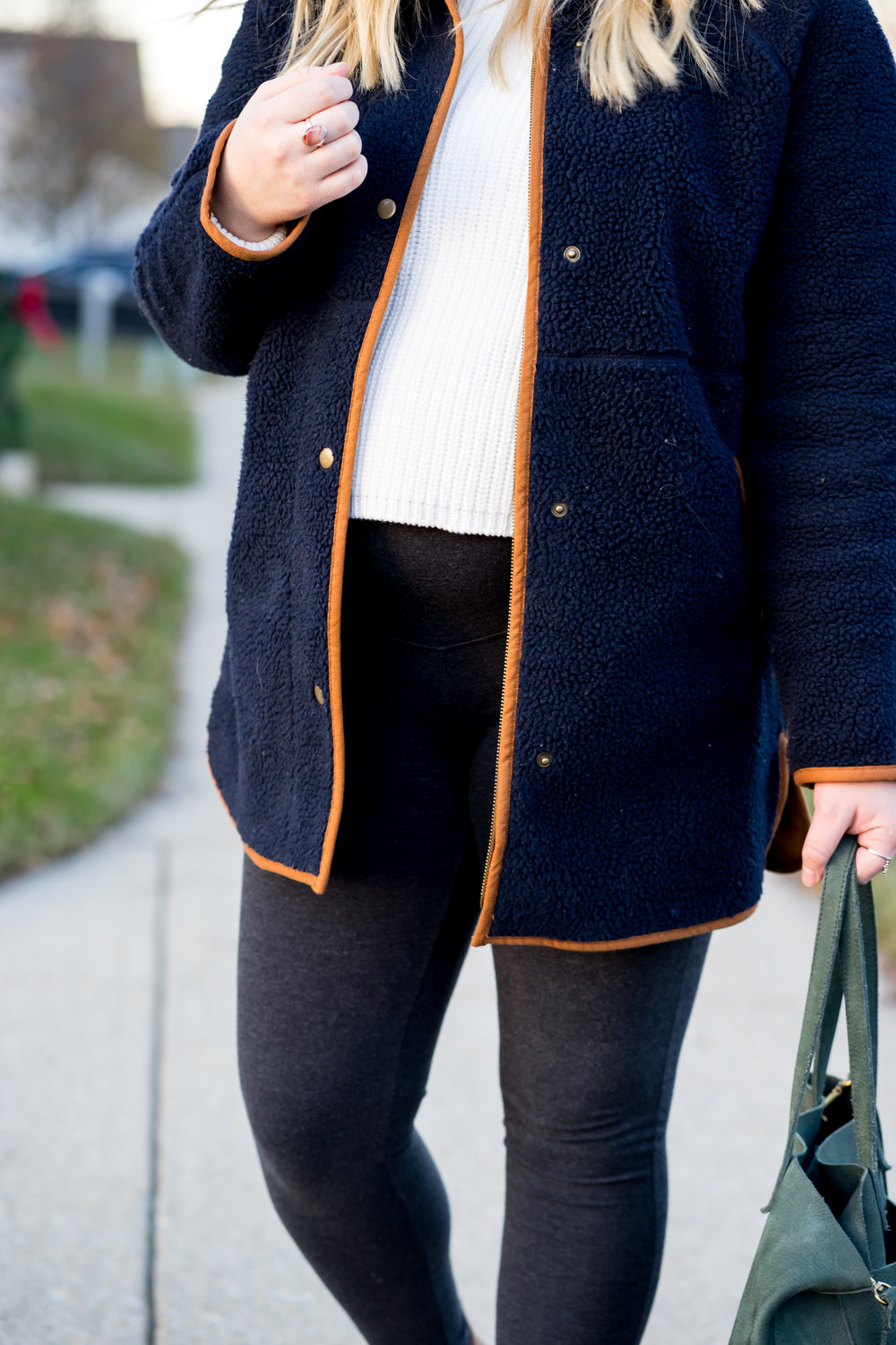 Maggie a la Mode - Teddy and Sherpa Coats Under $100 Old Navy Long Sherpa Faux-Suede Lined Coat, French Connection Millie Mozart Sweater, Old Navy Maternity Leggings, Madewell Medium Transport Tote, Madewell Asher Boot in Suede and Leather