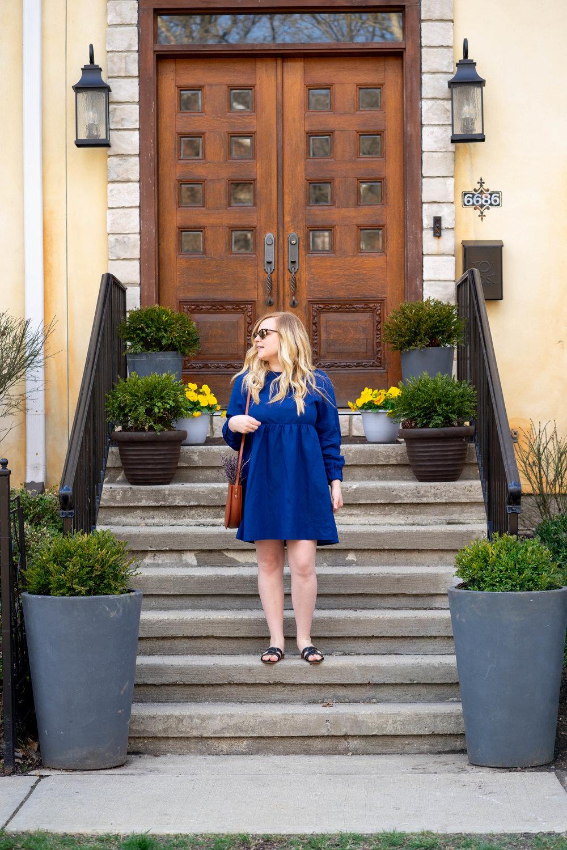 Maggie a la Mode Easy Breezy Spring Style - Sezane Candice Dress, Kaanas Santorini Infinity Sandals, The Stowe Eloise Bag
