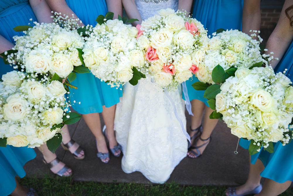 Greenville Wedding | Morningside Baptist Church Spartanburg SC Bridal party bouquets