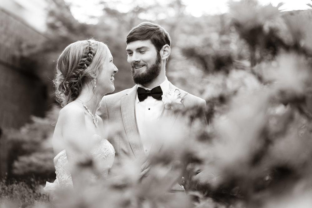 Greenville Wedding | Morningside Baptist Church Spartanburg SC Bride and Groom in Garden