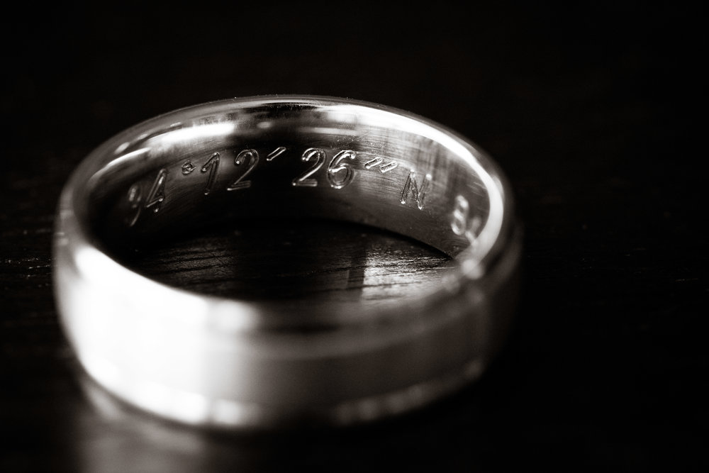 Wedding ring with coordinates inside, Downtown Greenville Wedding