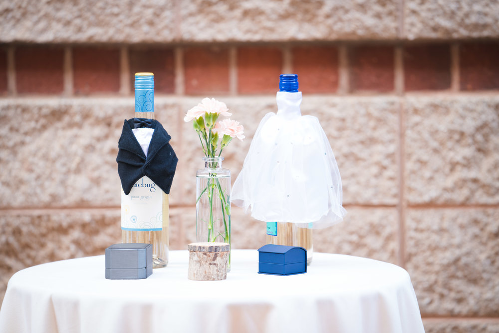 Fun bride and groom wedding decorations, Downtown Greenville Wedding