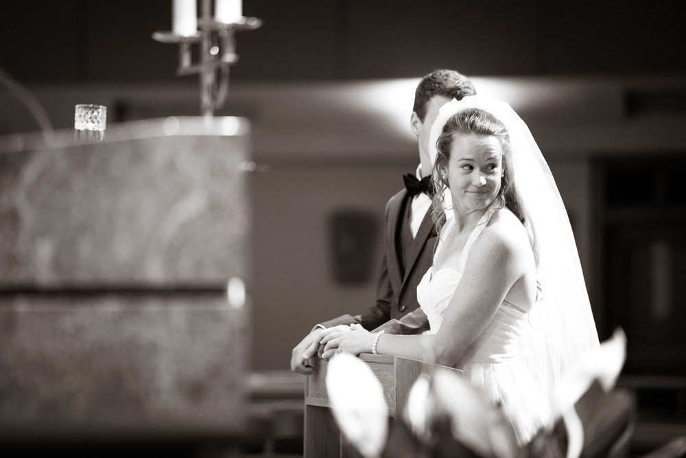 Bride looking backward | St Mary Magdalene Catholic Church Simpsonville, SC
