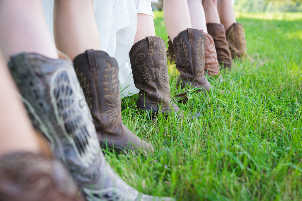 Bridal party wearing cowboy boots | Windy Hill Wedding and Event Barn in Simpsonville, SC