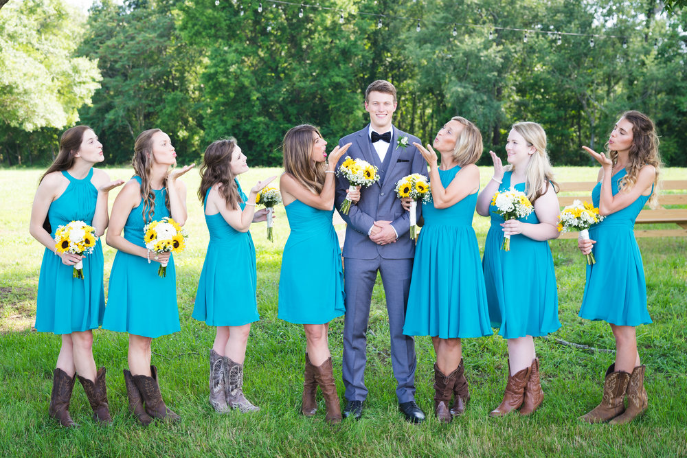 Bridal party with groom | Windy Hill Wedding and Event Barn in Simpsonville, SC