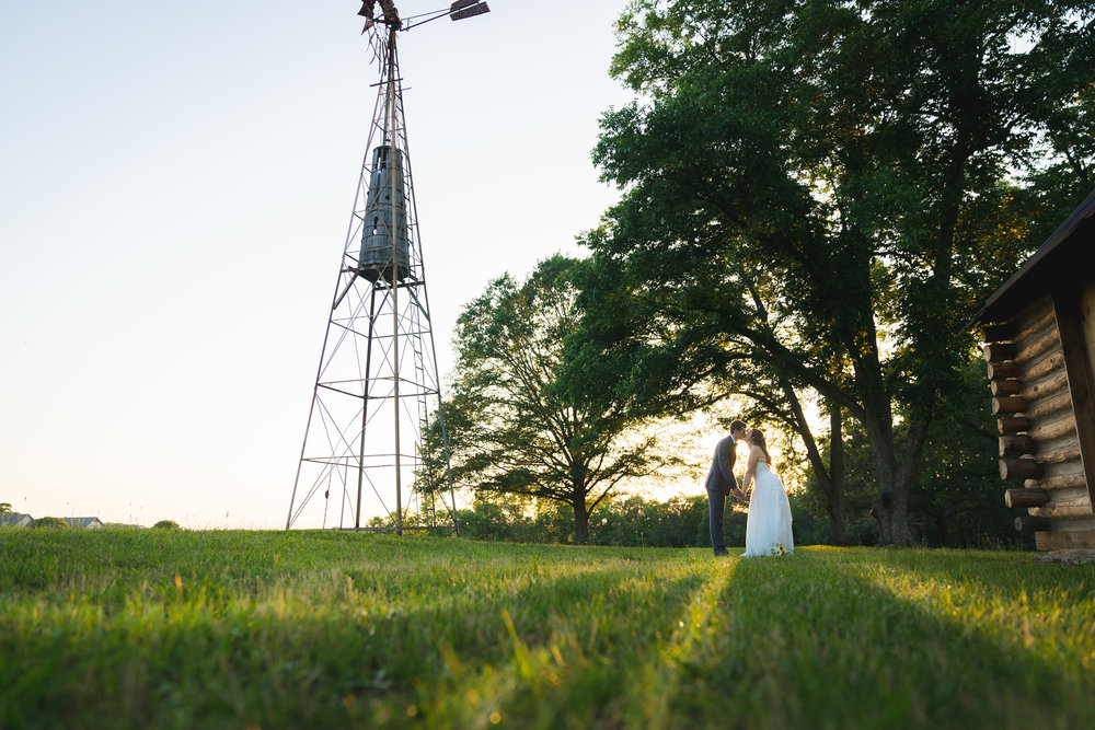 Bride and groom at sunset | Windy Hill Wedding and Event Barn in Simpsonville, SC
