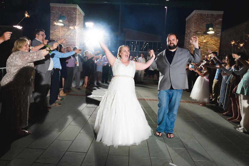 Sparkler exit | Flour Field Wedding in Downtown Greenville, SC