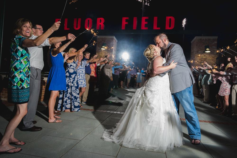 Sparkler exit 2 | Flour Field Wedding in Downtown Greenville, SC