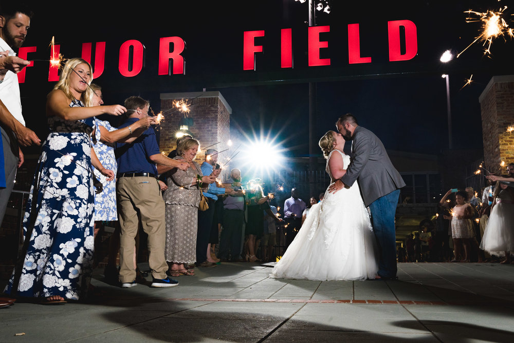 Sparkler exit 3 | Flour Field Wedding in Downtown Greenville, SC