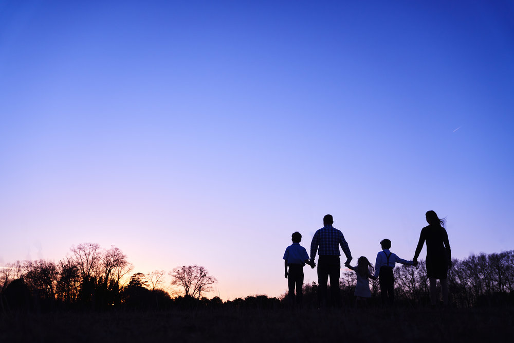 Family watching sunset | Family Photo Session at the Clemson Botanical Gardens