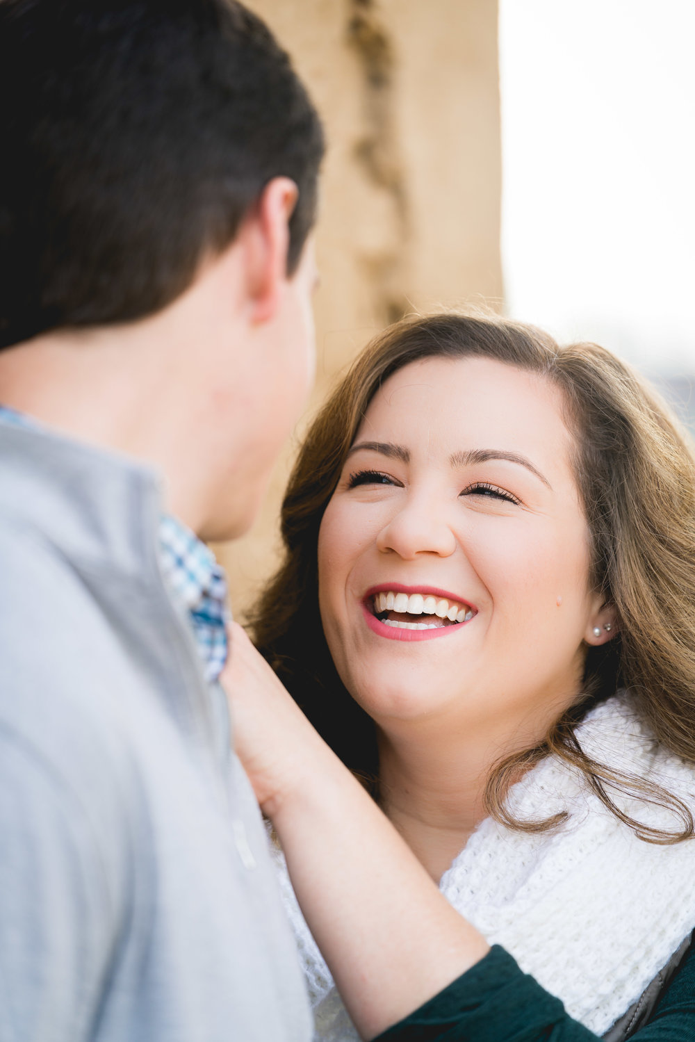 Couple laughing | Engagement Session Downtown Greenville, SC