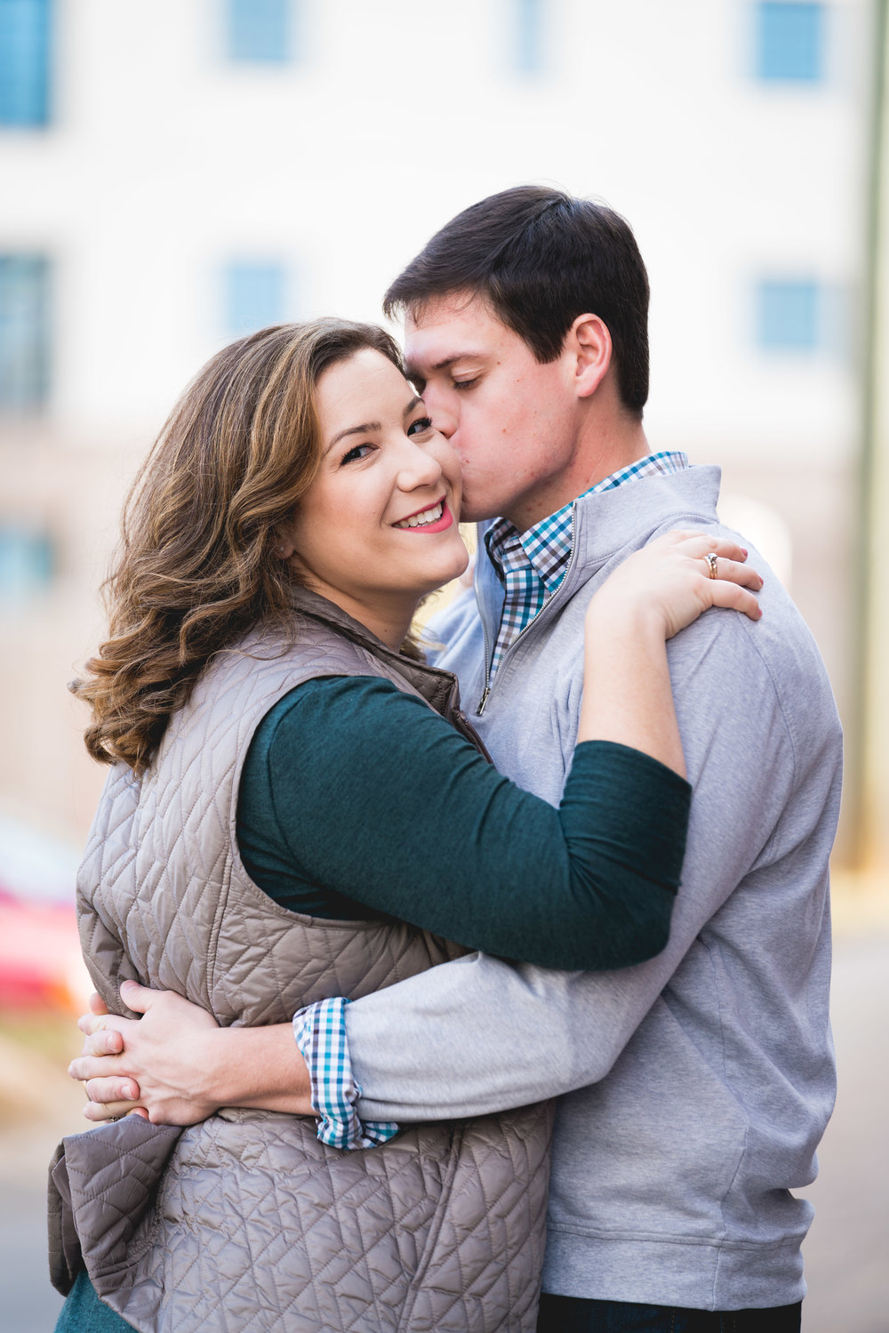A simple kiss | Engagement Session Downtown Greenville, SC