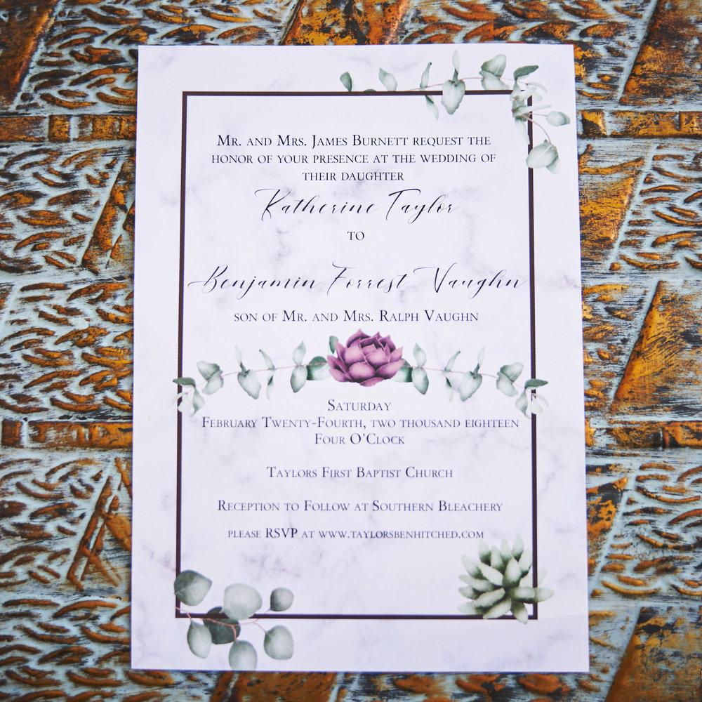Beautiful Wedding invitation | Southern Bleachery in Taylors SC