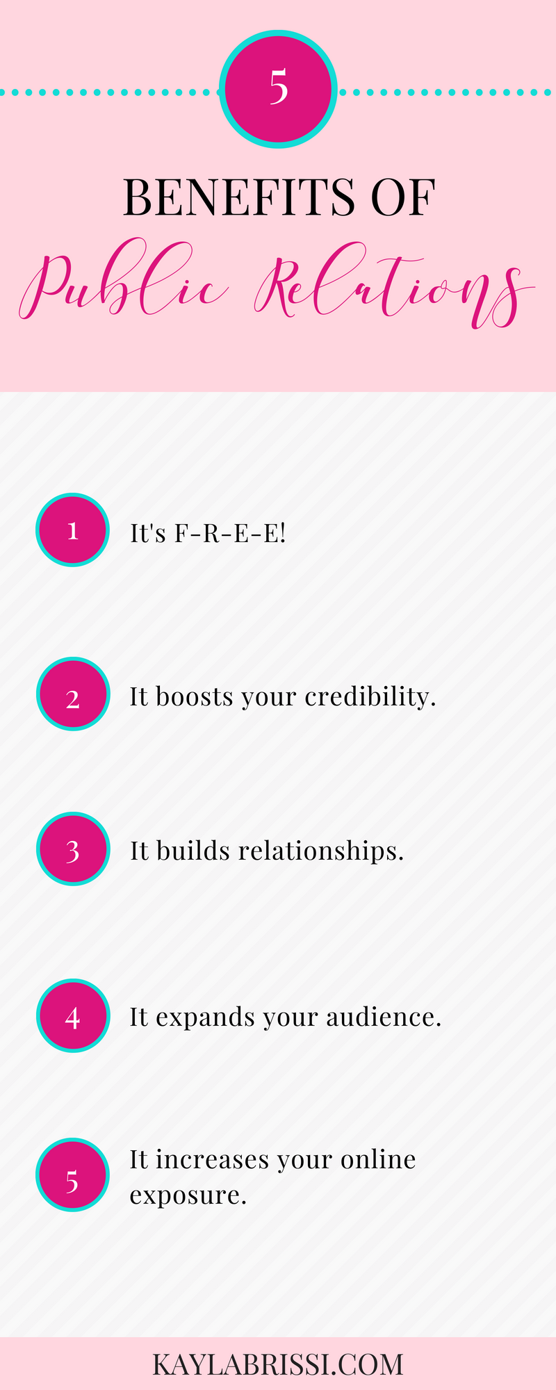 FIVE BENEFITS OF PUBLIC RELATIONS INFOGRAPHIC