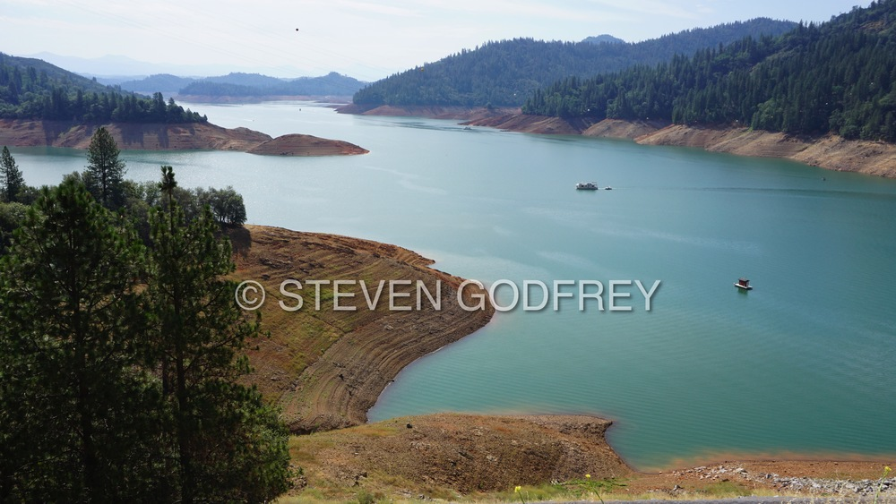California's drought-stricken Lake Shasta, the state's largest water reservoir | Shasta County, California, USA