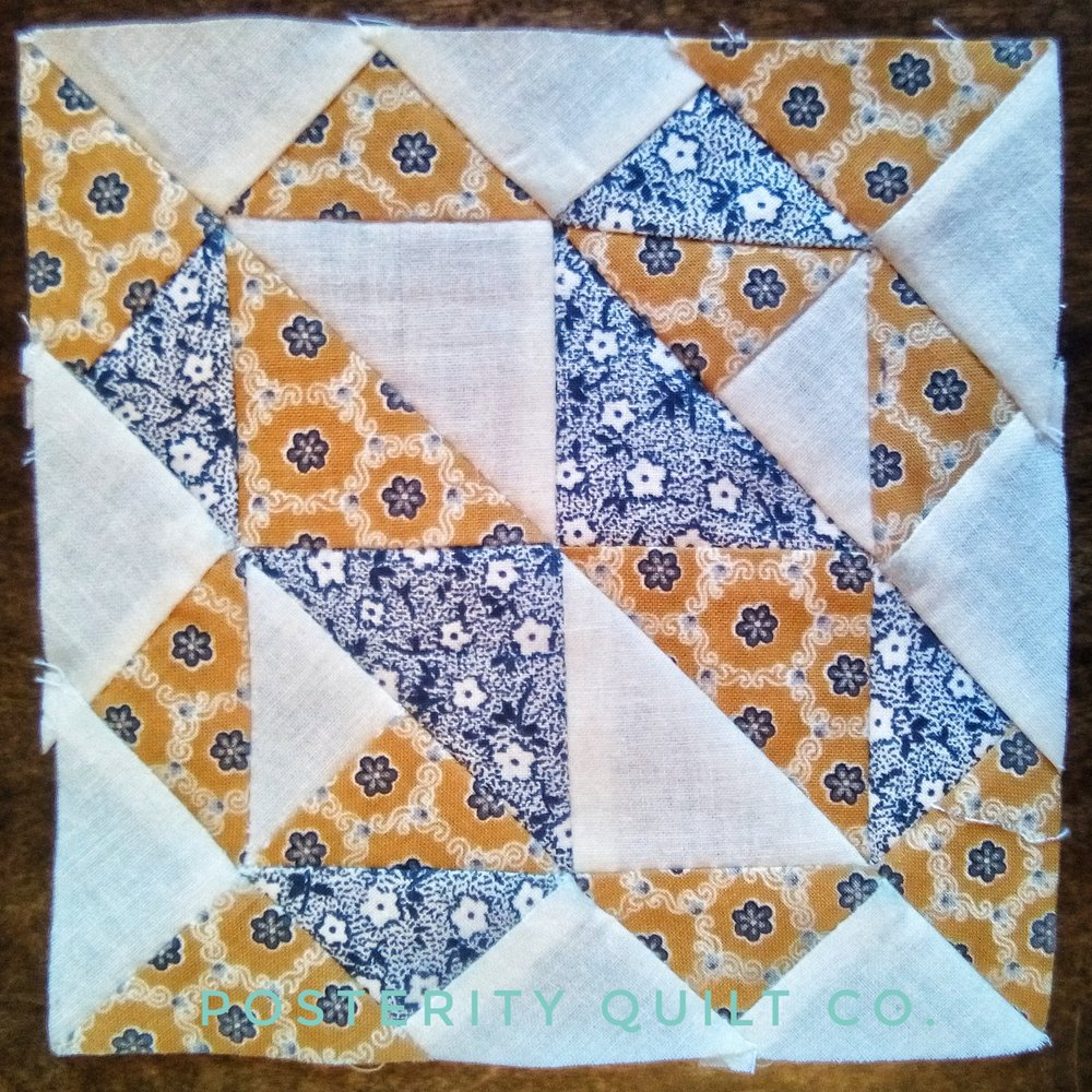 The Grandma block can be found on page 22 of the  1930's Farmer's Wife Sampler  (page 198 for template instructions.)