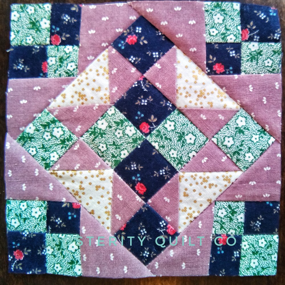 The Nellie block can be found on page 68 of the  1930's Farmer's Wife Sampler  (page 256 for template instructions.)