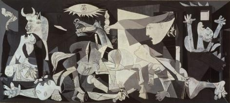 "Picasso's ""Guernica,"" approximately 11 x 25"" and is located in the Museo Nacional Riena Sofia in Madrid."