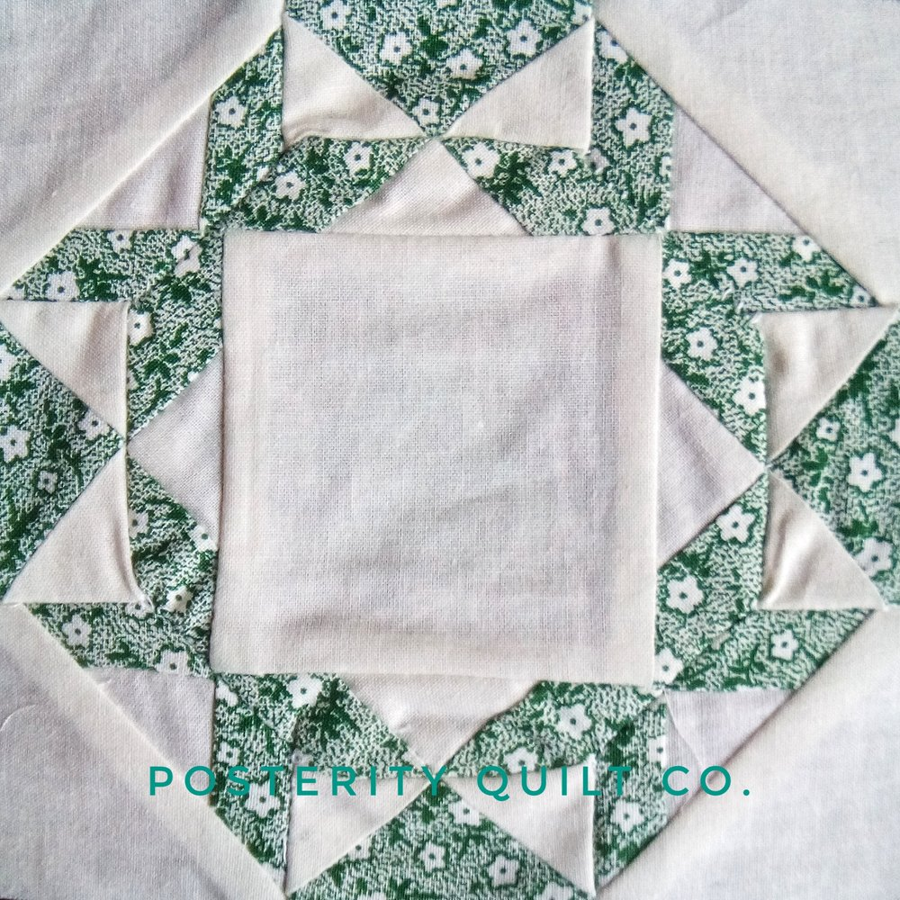 The Pharlemia block can be found on page 38 of the  1930's Farmer's Wife Sampler  (page 241 for template instructions.)