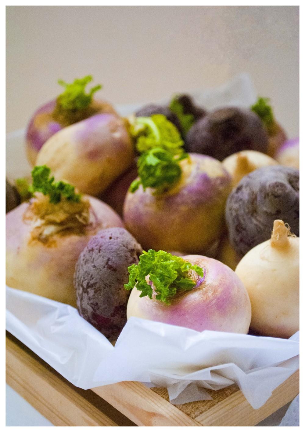 Turnips in a box