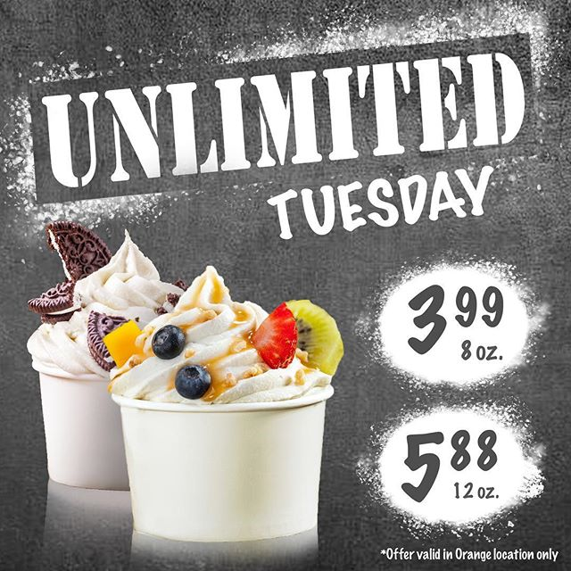 Need to calm your sweet tooth at a great price? Come in to Nuvita Orange for Unlimited Tuesdays! Fill your cup at a flat rate of $3.99!! Get your Tuesday on!  Terms and conditions: No refunds or exchanges. Offer valid at Orange location only. No refills.