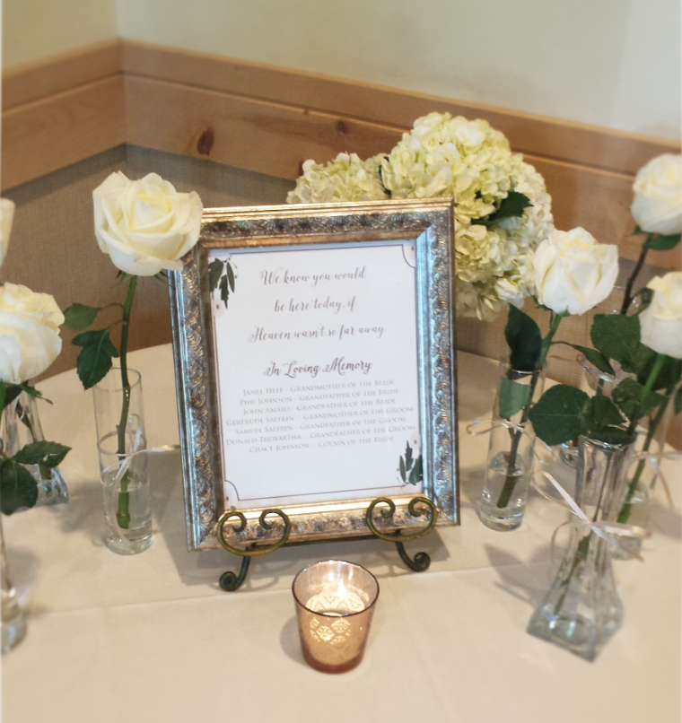 Wedding Memorial Table, MN, Jessica Wonders Events