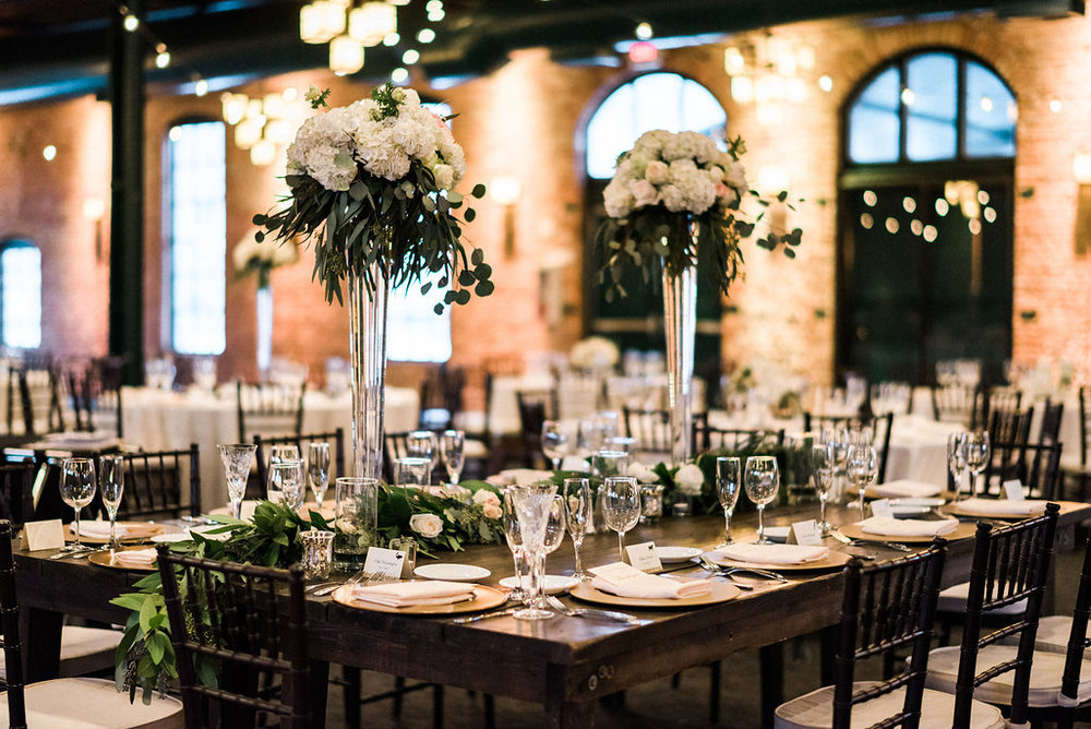Nicollet Island Pavillion, Minneapolis,MN. Classic Navy theme wedding. Winter Wedding Décor. Jessica Wonders Events Wedding Planning, Wedding Floral Design, and Rental Décor.