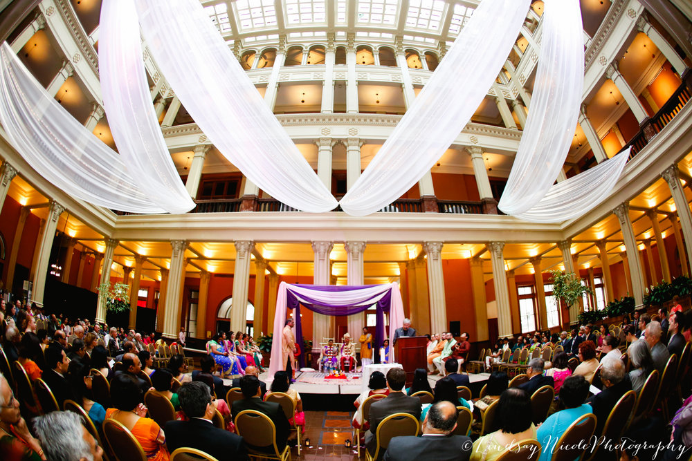 Landmark Center, St. Paul,MN. Indian, Hindu and Christian wedding. Indian, South-Asian Wedding Décor. South Asian Wedding Planner Jessica Wonders Events