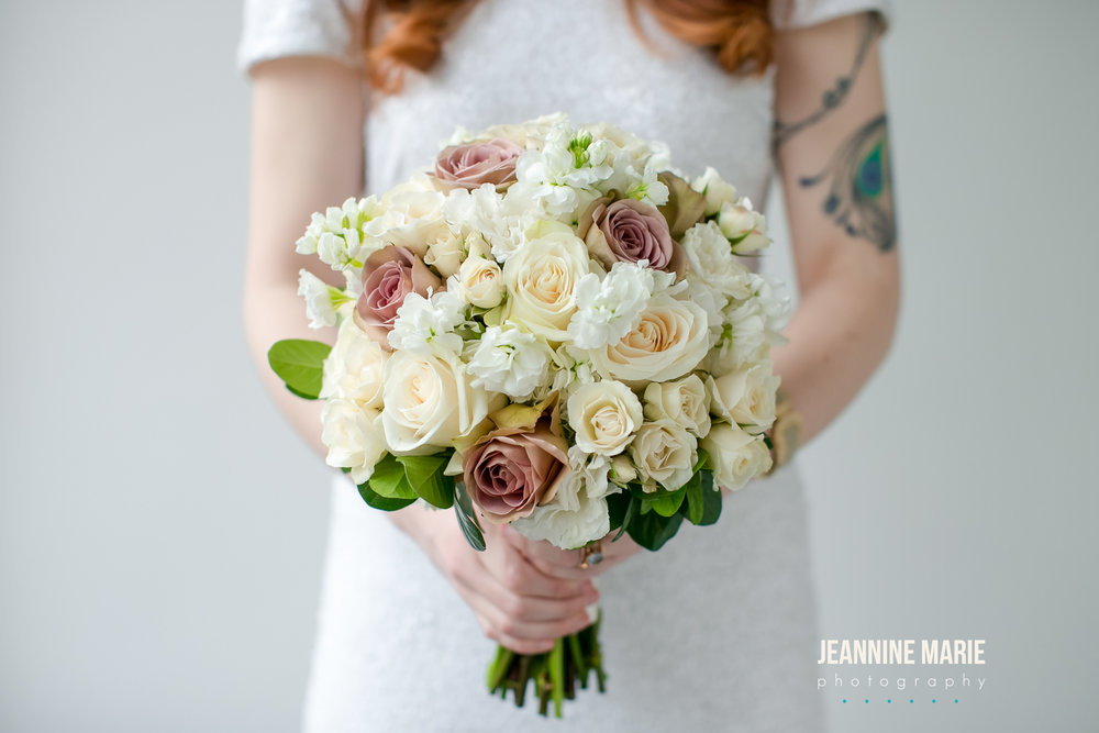 Ivory and mauve round bridal bouquet Jessica Wonders Events, Minneapolis, MN