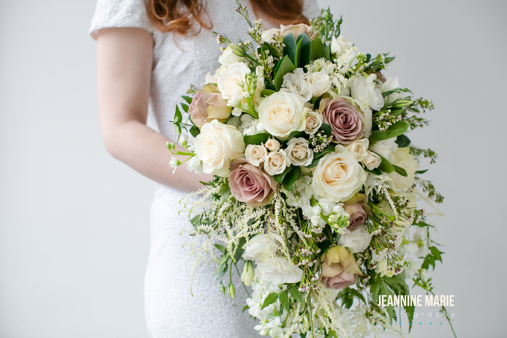 Ivory, mauve, and greenery cascade bouquet  Jessica Wonders Events, Minneapolis, MN