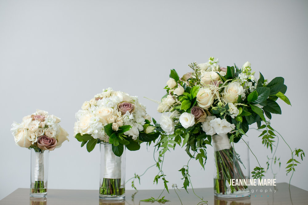 White, greenery, and mauve bouquets  Jessica Wonders Events, Minneapolis, MN